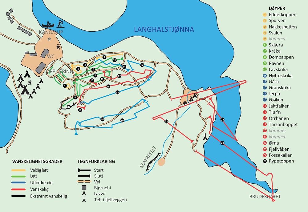 rypetoppen kart Klatreparken   Rypetoppen Adventurepark
